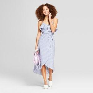 A New Day Striped Ruffle Wrap Dress MEDIUM blue